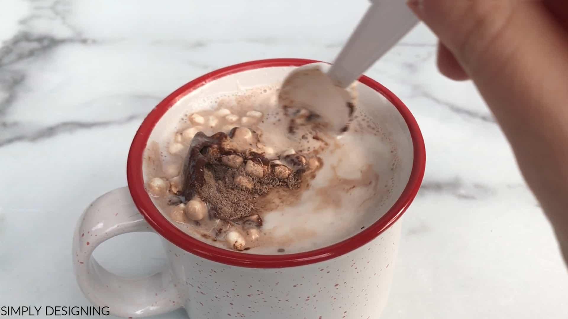hot cocoa bomb in a mug