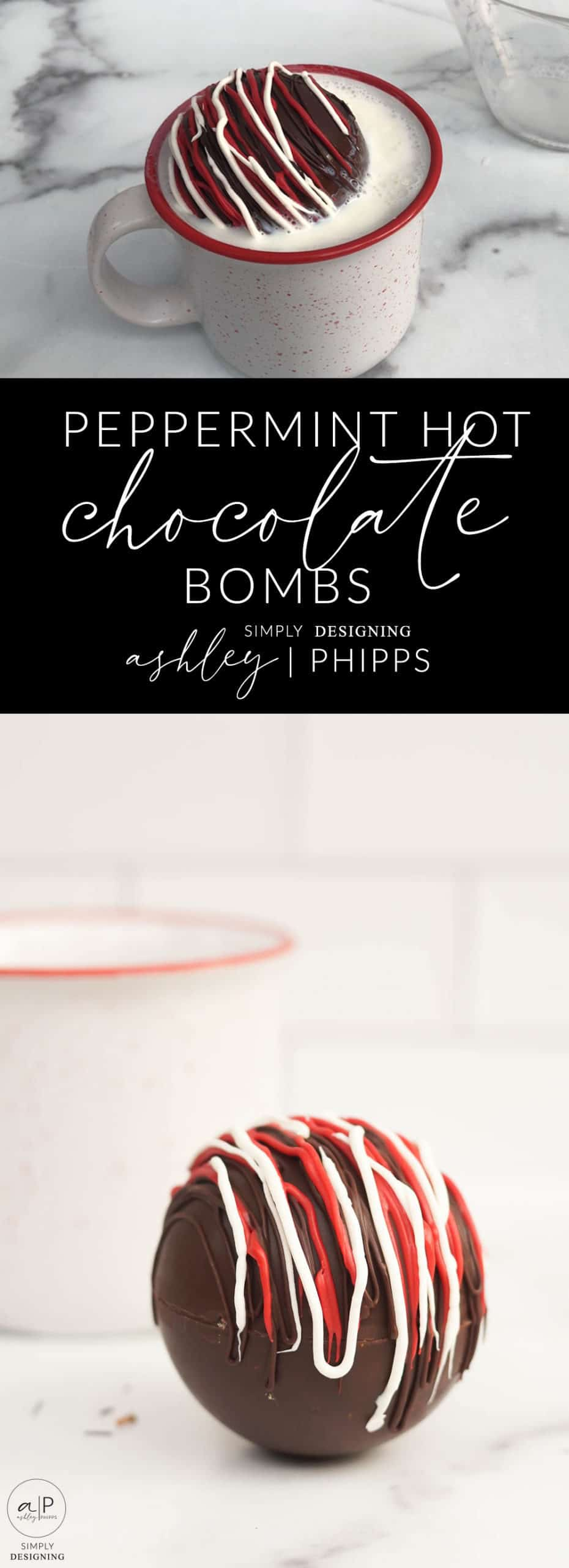 These Peppermint Hot Chocolate Bombs are made with delicious chocolate hot cocoa mix and crushed candy canes for a perfectly delectable and delicious warm drink
